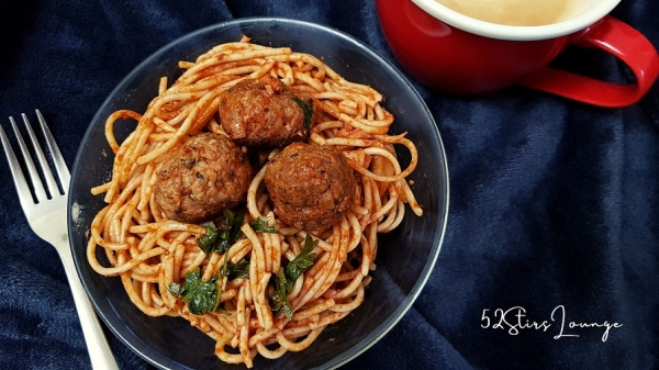 Spaghetti Meatballs in Red Sauce with Mushrooms - 52Stirs.com